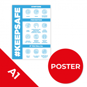 10C A1 POSTER Social Distance Sign LIGHT BLUE A1 Coronavirus (COVID-19)