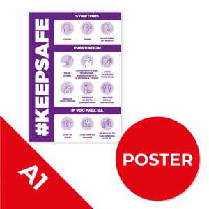10C A1 POSTER Social Distance Sign PURPLE A1 Coronavirus (COVID-19)