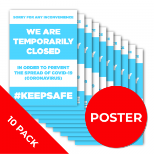 12B10PK A3 POSTER 10 PACK Social Distance Sign RED A3 Coronavirus (COVID-19)