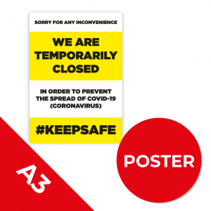 12B A3 POSTER Social Distance Sign YELLOW with Black Text A3 Coronavirus (COVID-19)