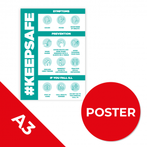 12C A3 POSTER Social Distance Sign TEAL A3 Coronavirus (COVID-19)