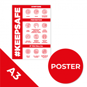 12C A3 POSTER Social Distance Sign RED A3 Coronavirus (COVID-19)