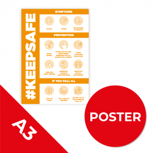 12C A3 POSTER Social Distance Sign ORANGE A3 Coronavirus (COVID-19)
