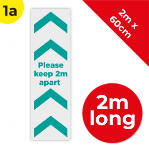 1A 2m Floor Graphic Social Distance Sign TEAL 200 x 60cm Coronavirus (COVID-19)