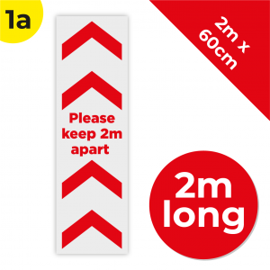 1A 2m Floor Graphic Social Distance Sign RED 200 x 60cm Coronavirus (COVID-19)