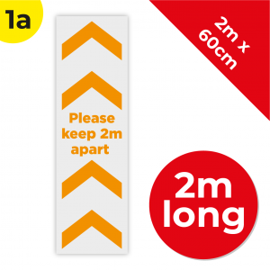 1A 2m Floor Graphic Social Distance Sign ORANGE 200 x 60cm Coronavirus (COVID-19)
