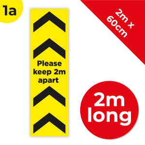 1A 2m Floor Graphic Social Distance Sign YELLOW with Black Text 200 x 60cm Coronavirus (COVID-19)
