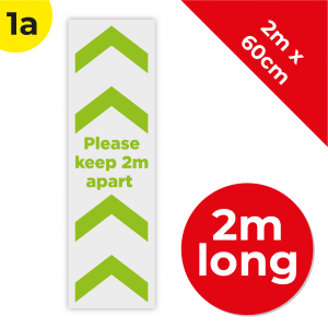 1A 2m Floor Graphic Social Distance Sign GREEN 200 x 60cm Coronavirus (COVID-19)