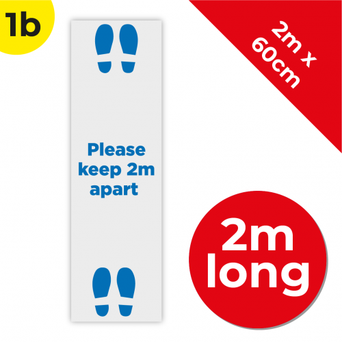 1B 2m Floor Graphic Social Distance Sign DARK BLUE 200 x 60cm Coronavirus (COVID-19)