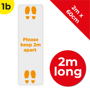 1B 2m Floor Graphic Social Distance Sign ORANGE 200 x 60cm Coronavirus (COVID-19)