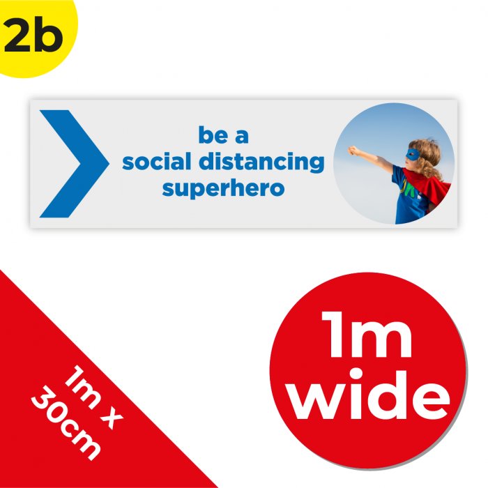 2B 1m Floor Graphic Social Distance Sign DARK BLUE 100 x 30cm Coronavirus (COVID-19)