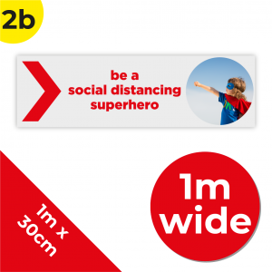 2B 1m Floor Graphic Social Distance Sign RED 100 x 30cm Coronavirus (COVID-19)