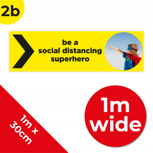 2B 1m Floor Graphic Social Distance Sign YELLOW with Black Text 100 x 30cm Coronavirus (COVID-19)