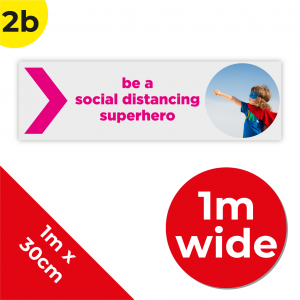 2B 1m Floor Graphic Social Distance Sign PINK 100 x 30cm Coronavirus (COVID-19)
