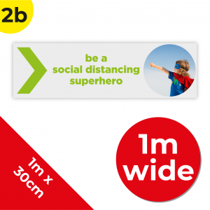 2B 1m Floor Graphic Social Distance Sign GREEN 100 x 30cm Coronavirus (COVID-19)