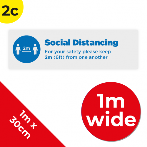 2C 1m Floor Graphic Social Distance Sign DARK BLUE 100 x 30cm Coronavirus (COVID-19)