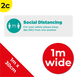 2C 1m Floor Graphic Social Distance Sign TEAL 100 x 30cm Coronavirus (COVID-19)