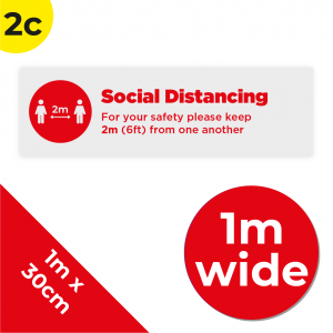 2C 1m Floor Graphic Social Distance Sign RED 100 x 30cm Coronavirus (COVID-19)