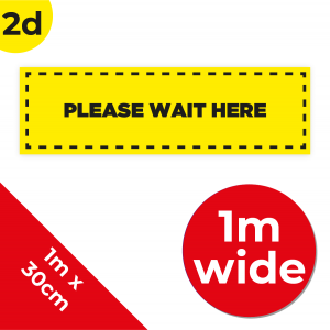 2D 1m Floor Graphic Social Distance Sign YELLOW with Black Text 100 x 30cm Coronavirus (COVID-19)