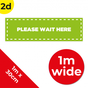 2D 1m Floor Graphic Social Distance Sign GREEN with White Text 100 x 30cm Coronavirus (COVID-19)