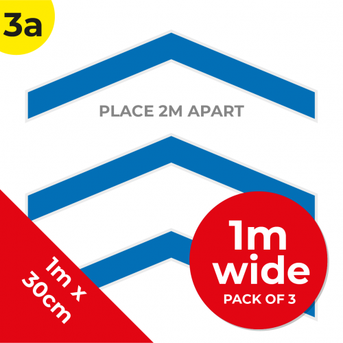 3A 1.2m Floor Graphic Social Distance Sign DARK BLUE 100 x 30cm (3PACK) Coronavirus (COVID-19)