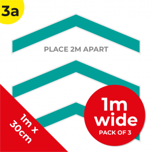 3A 1.2m Floor Graphic Social Distance Sign TEAL 100 x 30cm (3PACK) Coronavirus (COVID-19)