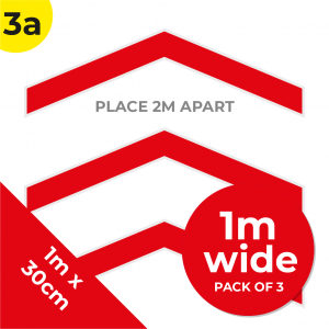 3A 1.2m Floor Graphic Social Distance Sign RED 100 x 30cm (3PACK) Coronavirus (COVID-19)