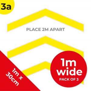 3A 1.2m Floor Graphic Social Distance Sign YELLOW with Black Text 100 x 30cm (3PACK) Coronavirus (COVID-19)