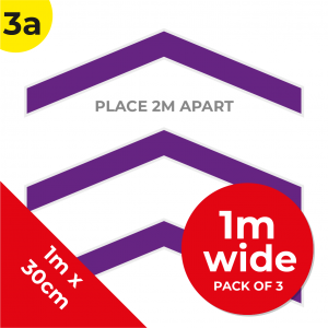 3A 1.2m Floor Graphic Social Distance Sign PURPLE 100 x 30cm (3PACK) Coronavirus (COVID-19)