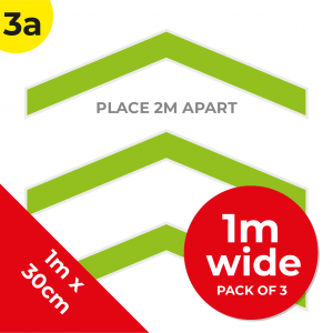 3A 1.2m Floor Graphic Social Distance Sign GREEN 100 x 30cm (3PACK) Coronavirus (COVID-19)