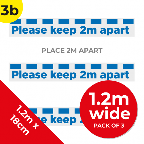 3B 1.2m Floor Graphic Social Distance Sign DARK BLUE 120 x 18cm (3PACK) Coronavirus (COVID-19)