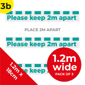 3B 1.2m Floor Graphic Social Distance Sign TEAL 120 x 18cm (3PACK) Coronavirus (COVID-19)