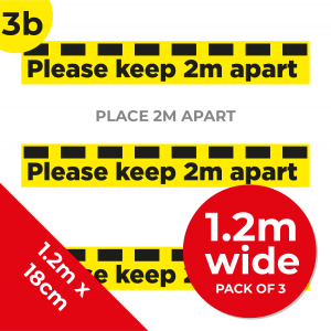 3B 1.2m Floor Graphic Social Distance Sign YELLOW with Black Text 120 x 18cm (3PACK) Coronavirus (COVID-19)