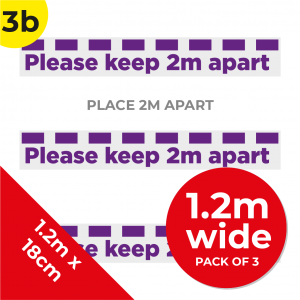 3B 1.2m Floor Graphic Social Distance Sign PURPLE 120 x 18cm (3PACK) Coronavirus (COVID-19)