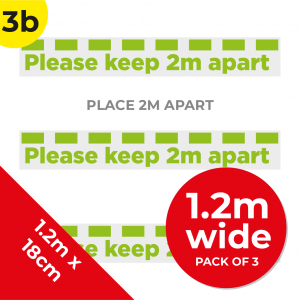 3B 1.2m Floor Graphic Social Distance Sign GREEN 120 x 18cm (3PACK) Coronavirus (COVID-19)