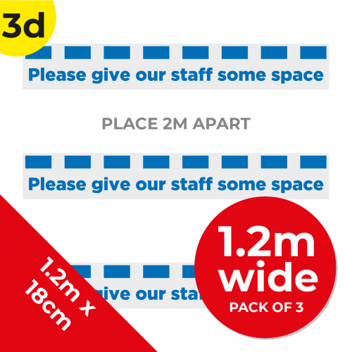 3D 1.2m Floor Graphic Social Distance Sign DARK BLUE 120 x 18cm (3PACK) Coronavirus (COVID-19)
