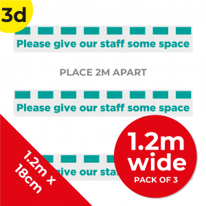 3D 1.2m Floor Graphic Social Distance Sign TEAL 120 x 18cm (3PACK) Coronavirus (COVID-19)