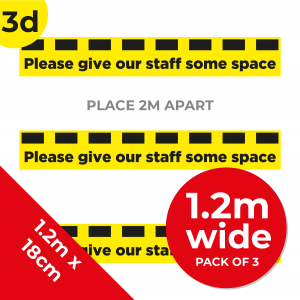 3D 1.2m Floor Graphic Social Distance Sign YELLOW with Black Text 120 x 18cm (3PACK) Coronavirus (COVID-19)