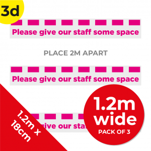 3D 1.2m Floor Graphic Social Distance Sign PINK 120 x 18cm (3PACK) Coronavirus (COVID-19)
