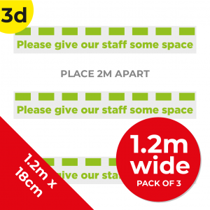 3D 1.2m Floor Graphic Social Distance Sign GREEN 120 x 18cm (3PACK) Coronavirus (COVID-19)