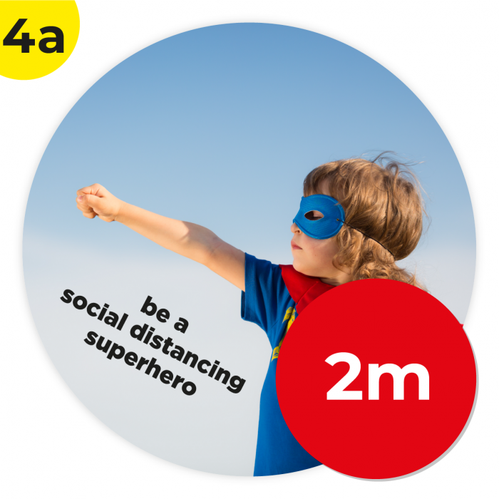 4A 2m Circle Floor Graphic Social Distance Sign SUPER HERO 200cm Coronavirus (COVID-19)