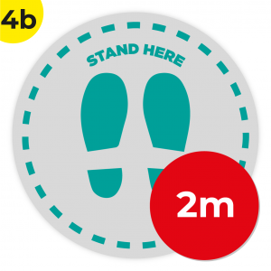4B 2m Circle Floor Graphic Social Distance Sign TEAL 200cm Coronavirus (COVID-19)