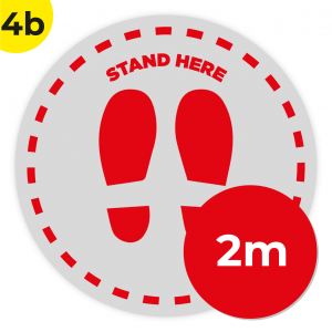 4B 2m Circle Floor Graphic Social Distance Sign RED 200cm Coronavirus (COVID-19)