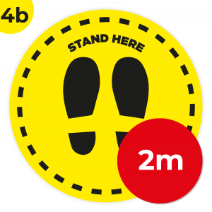 4B 2m Circle Floor Graphic Social Distance Sign YELLOW with Black Text 200cm Coronavirus (COVID-19)