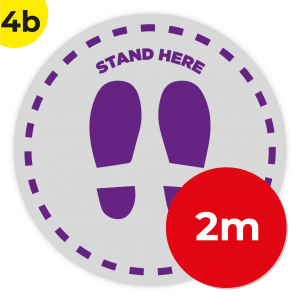 4B 2m Circle Floor Graphic Social Distance Sign PURPLE 200cm Coronavirus (COVID-19)