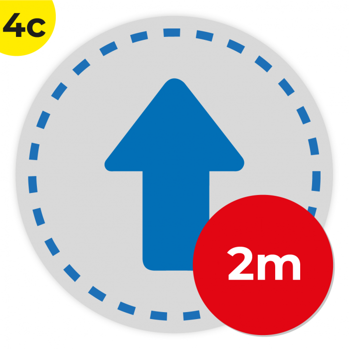 4C 2m Circle Floor Graphic Social Distance Sign DARK BLUE 200cm Coronavirus (COVID-19)