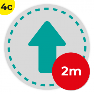 4C 2m Circle Floor Graphic Social Distance Sign TEAL 200cm Coronavirus (COVID-19)