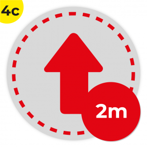 4C 2m Circle Floor Graphic Social Distance Sign RED 200cm Coronavirus (COVID-19)
