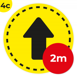 4C 2m Circle Floor Graphic Social Distance Sign YELLOW with Black Text 200cm Coronavirus (COVID-19)