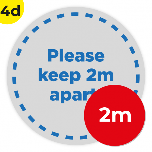 4D 2m Circle Floor Graphic Social Distance Sign DARK BLUE 200cm Coronavirus (COVID-19)
